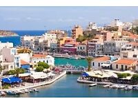 3 return tickets, Manchester- Crete island, 15 Aug- 24 Aug (changeable dates)