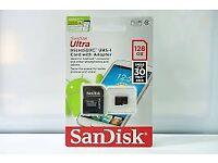 BRAND NEW GENUINE Sandisk 128GB Micro SD Card with adaptor. UHS-I U1 SDXC