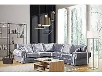 **SPECIAL OFFER** BRAND NEW ANCONA CRUSHED VELVET CORNER SOFA OR 3+2 FAST DELIVERY