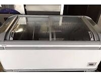 AHT COMMERCIAL SIZE DEEP FREEZER WITH GLASS SLIDING DOORS DEEP, BOUGHT FROM NEW 4 YR AGO.