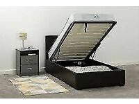 FLAT PACKED-SINGLE SIZE LEATHER STORAGE BED FRAME WITH OPTIONAL MATTRESS