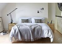 Wooden bed frame + very comfortable mattress (king size) – EXCELLENT CONDITION!
