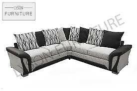 NEW SHANNON SOFA- FABRIC & FAUX LEATHER LEFT/RIGHT CORNER | 3 2 SEATER
