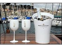 Moet & chandon new promotional, boxed , white acrylic glasses