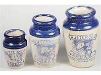 WANTED WANTED - Old pottery Scottish Ginger Beer bottles pot lids and cream pots .