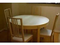 Ikea Bjursta Beech Extendable Dining Table and Six Chairs