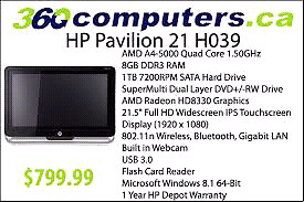 "Hp pavillion 21"" all in one"