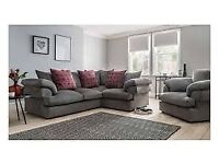 Grey and pink corner sofa with cuddles chair