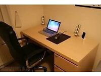 Desk with Glass Top and matching Filing Cabinet