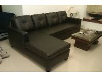 Black Leather Corner Sofa in very clean condition can split into two easy move deliver Eccles