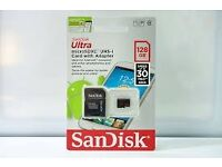 BRAND NEW GENUINE Sandisk 128GB UHS-I U1 Micro SDXC Card with adaptor.
