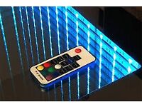 MODERN LED 3D COFFEE TABLE 55 cm x 55cm MIRROR GLASS TOP WITH SOUND SENSORS - High quality