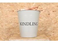LARGE METAL KINDLING BUCKETS CREAM OR PALE GREEN ( NEW )