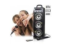 Brand New Black Pure Acoustics Wireless Bluetooth Portable Multimedia System With Disco Lights