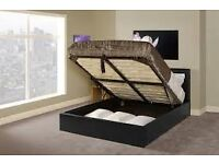 BRAND NEW - MONZA OTTOMAN STORAGE DOUBLE BED - BLACK OR BROWN - IMMEDIATE DELIVERY NEXT DAY