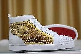f6370df60119 MENS LOUBOUTINS SPARKLY SHINY WHITE AND GOLD SIZE 8 9