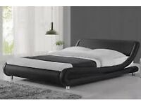 Double bed black leather look