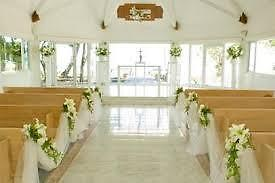 Decorating church pews with tulle for a wedding ebay tulle decorations in an open church setting junglespirit Image collections