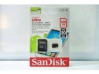 BRAND NEW GENUINE Sandisk 128GB UHS-I U1 Micro SDXC Card with adaptor.
