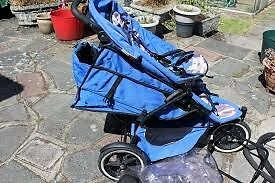 Phil & Teds Sport Double Buggy - Blue Camo with accessories.