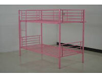 Bunk bed, pink metal frame, good condition