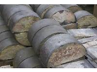Reclaimed half round blue bricks / coping stones