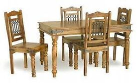 INDIAN SHEESHAM TABLE AND FOUR CHAIRS