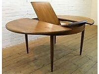 Dining table with extension- teak - oval