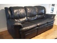 Large leather three piece suite with recliners