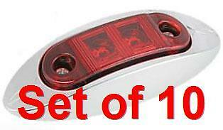 10X LED Truck RV Trailer Side Marker Oval Clearance Light Red