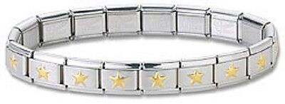 Wholesale Lot 24 Italian Charm Bracelets Stainless Steel Gold Plated Star Links