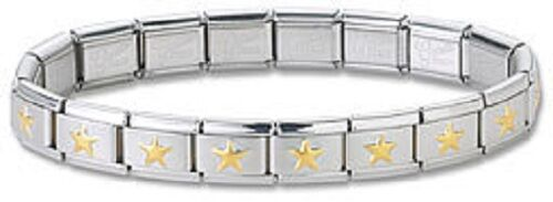 Gold STAR Bulk Wholesale Lot 24 Italian Charm Bracelets Stainless Steel Links