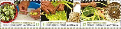 > 2018 COCOS KEELING ISLAND BASKET WEAVING, 3 SHEET ON PAPER Australian - Paper Basket Weaving