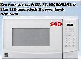Kenmore 0.7 cu. ft CU. FT. MICROWAVE 17 Liters Easy to read LED timer/clock 10 power levels  has 900-watt