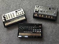 Korg Volca Beats, Bass and Keys + Behringer Q502 5 input mixer