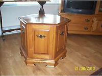 Roxton Solid Maple Drum Style End Table with Opening Door