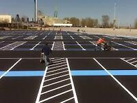 ASPHALT PARKING LOT LINE PAINTING / STRIPING - HOT CRACK REPAIR