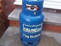£ 20 - 1/4 full Calor Gas 7kg Butane gas bottle/cylinder with REGULATOR ; BBQ , Camping , Caravan