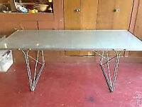 Large Ikea Frosted Glass & Metal Coffee Table