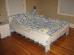 Nice ikea white wooden double size bed frame + mattress , can del