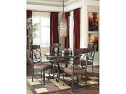 WROUGHT IRON AND WOOD DINING SET  (ASH2306)