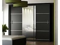 BEST QUALITY GUARANTEED⭕LARGE MIRROR⭕BRAND NEW MODERN 2/3 DOOR SIDING WARDROBE IN BLACK, WHITE COLOR