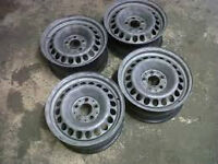 FOUR 15'' BLACK STEEL 5 BOLT HOLE CHEV/OTHER RIMS