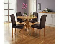 Montego Table and 4 Chocolate Oak Leather Chairs