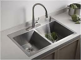 KOHLER Vault 22-in x 33-in Stainless Steel 2 Stainless Steel Drop-in  4-Hole Residential Kitchen Sink