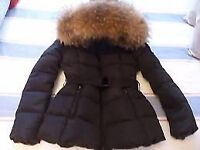 Womens black raccoon fur coat