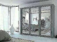 🔵💖🔴BRAND NEW LUX FULL MIRROR🔵💖🔴250 CM WIDE WARDROBE IN BLACK WHITE OR GREY