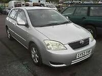 TOYOTA COROLLA 2004 SILVER BREAKING FOR SPARES TEL 07814971951 HAVE FEW IN STOCK