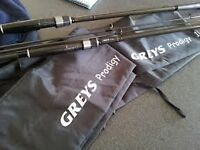 2 GREYS PRODIGY CARP RODS GOOD CONDITION SELL OR SWAP