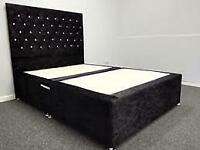 ⭐️Furniture Sale⭐️Double & King Size Crushed Velvet Divan Bed Base W Opt Mattress-chest of drawers